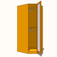 Corner Diagonal Wardrobe Double Hanging - Full Glazed - 900mm - 600mm Deep (618mm inc Doors) - 2260mm High