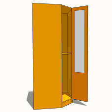 Corner Diagonal Wardrobe Double Hanging - Part Glazed - 900mm - 600mm Deep (618mm inc Doors) - 2260mm High