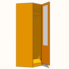 Corner Diagonal Wardrobe Single Hanging 900mm -Part Glazed - 600mm Deep (618mm inc Doors) - 2260mm High