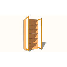 Double Door Wardrobe - Fully Shelved - Fully Glazed - 600mm Deep (618mm inc Doors) - 2260mm High