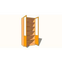 Double Door Wardrobe - Fully Shelved - Part Glazed - 600mm Deep (618mm inc Doors) - 2260mm High