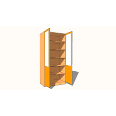 Double Door Wardrobe - Fully Shelved - Part Glazed - 600mm Deep (618mm inc Doors) - 2260mm High