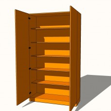 Double Wardrobe - Fully Shelved (5 x Fixed Shelves) - 600mm Deep (618mm inc Doors) - 2260mm High
