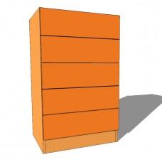 Bedroom Tall Boy Chest - 5 Drawer - 1000mm High - 480mm Deep