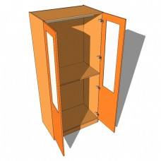 Double Wardrobe Double Hanging Part Glazed - 600mm Deep (618mm inc Doors) - 2260mm High