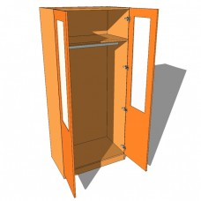 Double Wardrobe Single Hanging Part Glazed - 600mm Deep (618mm inc Doors) - 2260mm High