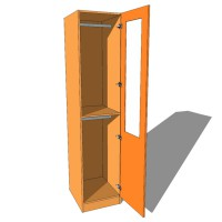 Single Wardrobe Double Hanging Part Glazed - 600mm Deep (618mm inc Doors) - 2260mm High