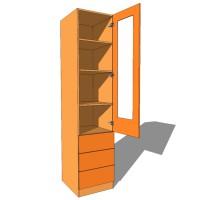 Linen Press Shelved Single Glazed Door - 600mm Deep (618mm inc Doors) - 2260mm High