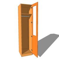Single Wardrobe Single Hanging Part Glazed - 600mm Deep (618mm inc Doors) - 2260mm High