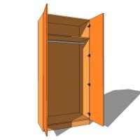 Double Door Wardrobe Single Hanging - 600mm Deep - 2260mm High