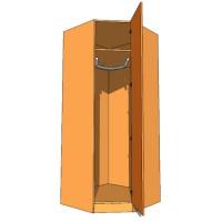 Corner Diagonal Wardrobe Single Hanging 900mm