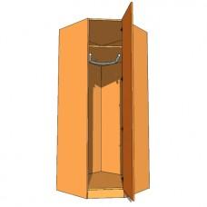 Corner Diagonal Wardrobe Single Hanging 900mm - 600mm Deep (618mm inc Doors) - 2260mm High