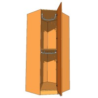 Corner Diagonal Wardrobe Double Hanging 900mm - 600mm Deep (618mm inc Doors) - 2260mm High