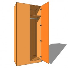 Corner Blank Wardrobe Single Hanging - 600mm Deep (618mm inc Doors) - 2260mm High