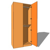 Corner Blank Wardrobe Double Hanging - 600mm Deep (618mm inc Doors) - 2260mm High