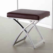 Chocolate Faux Leather Bedroom Stool