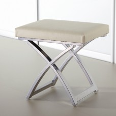 Ivory Faux Leather Bedroom Stool