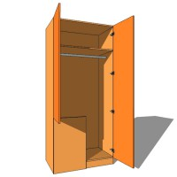 Corner Stable Blank Wardrobe Single Hanging - 600mm Deep (618mm inc Doors) - 2260mm High