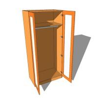 Double Wardrobe Single Hanging Full Glazed - 600mm Deep (618mm inc Doors) - 2260mm High