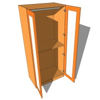 Double Wardrobe Double Hanging Full Glazed - 600mm Deep (618mm inc Doors) - 2260mm High