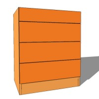 Bedroom Chest 4 Drawer - Standard Height - 480mm Deep