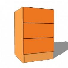 3 Drawer Bedside Cabinet - 640mm High - 480mm Deep