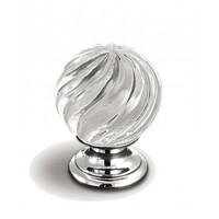 Crofts and Assinder Glass Crystal Knob Handle in Chrome