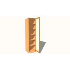Single Wardrobe - Fully Shelved (Fixed Shelves) - Fully Glazed -  600mm Deep (618mm inc Doors) - 2260mm High