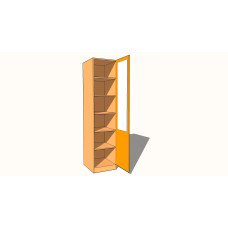 Single Wardrobe - Fully Shelved - Part Glazed - 600mm Deep (618mm inc Doors) - 2260mm High