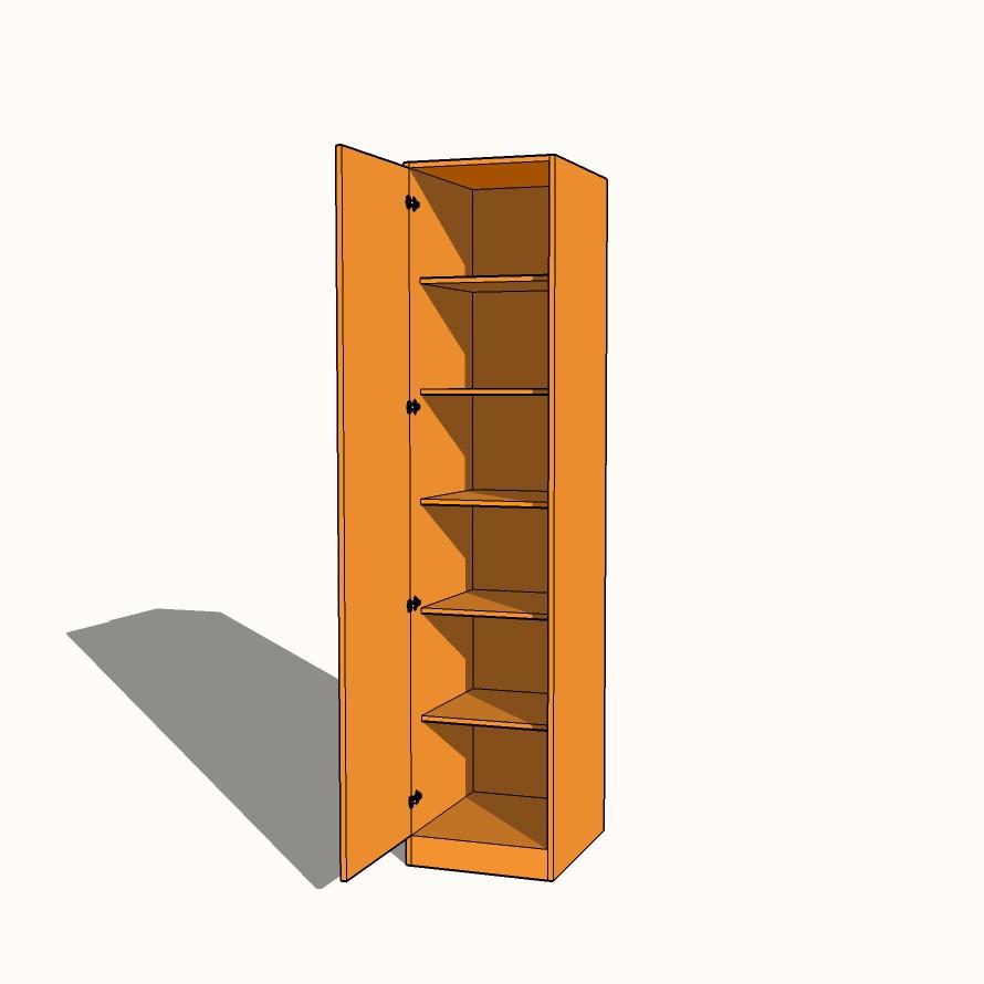 Single Wardrobe Fully Shelved Fixed Shelves 600mm